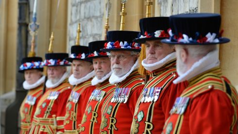 Members of the Queen's Guard in Beefeater attire in the Quadrangle at Windsor Castle.  hotograph: Alan Betson/The Irish Times