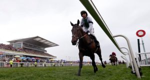 Pineau de Re, ridden by Leighton Aspell, on his way to victory in the 2014 Grand National Steeple Chase at Aintree, with not a penny of  Vinny Fitzpatrick's money on him. Photograph: Russell Cheyne/Reuters