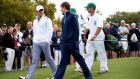 Rory McIlroy  and English amateur Matthew Fitzpatrick  walk together during a practice round prior to the start of the  Masters Tournament at Augusta National Golf Club. Photograph: Harry How/Getty Images