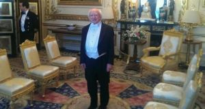 President Higgins in White Tie ahead of the State banquet at Windsor Castle this evening. Photograph: Steven Carroll