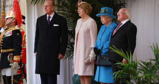 Duke of Edinburgh Prince Philip, Sabina Higgins, Queen Elizabeth and President Michael D Higgins watch a ceremonial welcome at Windsor Castle yesterday. Photograph: Peter Macdiarmid/Getty Images