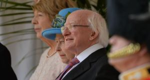 Queen Elizabeth with President Higgins  and Sabina Higgins. Photograph: Alan Betson