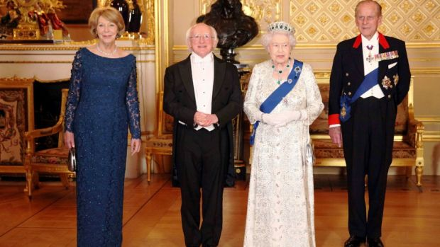 President Michael D. Higgins, his wife Sabina Coyne, Queen Elizabeth II and Prince Philip, Duke of Edinburgh, ahead of a state banquet in Windsor. Photograph: Dan Kitwood/ Reuters