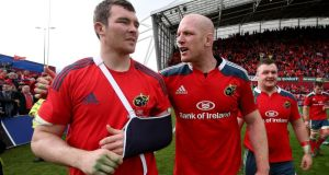 Munster's Peter O'Mahony and Paul O'Connell celebrate victory over Toulouse. Photograph: Dan Sheridan/Inpho