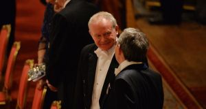 "Martin McGuinness, Deputy First Minister Northern Ireland, said the queen has been willing to show ""impressive leadership"" in the area of conflict resolution. Photograph: Alan Betson/The Irish Times"