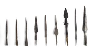 Viking weapons: iron arrowheads from Dublin excavations. Photograph:  Anne Keenan, National Museum of Ireland
