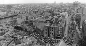 Protests: marchers demonstrate against  the Wood Quay redevelopment during the excavations of the 1970s. Photograph courtesy of Thaddeus Breen/History Ireland magazine