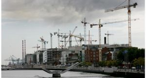 Construction in Dublin  during the boom. Photograph: Bryan O'Brien