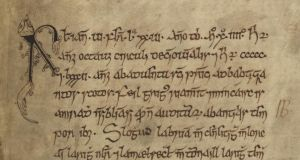 Manuscript: from a description of the Battle of Clontarf in the Annals of Ulster. Photograph courtesy of the board of Trinity College Dublin