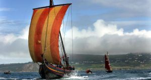 Full sail: Sea Stallion, a reconstructed Viking ship with 65  crew, in Dublin Bay. Photograph: Eric Luke