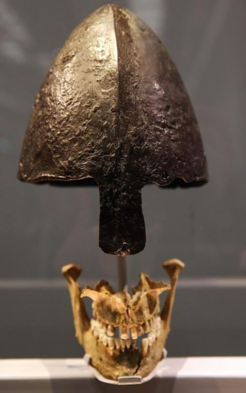Viking helmet and jawbone