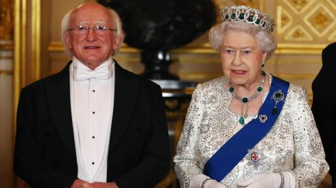 President Michael D Higgins and Britain's Queen Elizabeth II pose for a photograph ahead of state banquet in honour of Mr Higgins at Windsor Castle. Mr Higgins is making the first state visit by a president of the Republic since it gained independence from Britain. Photograph: Dan Kitwood/Pool/Reuters