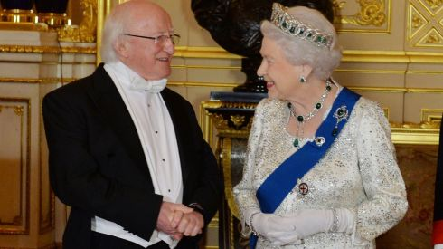 President Michael D Higgins and the queen share a moment before the banquet. Photograph: Alan Betson/The Irish Times