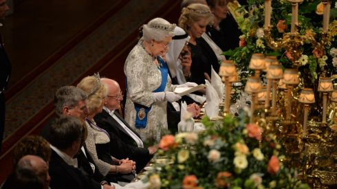 Queen Elizabeth II addresses the guests.  She  said the 'regrettable pain felt by many in Ireland and the United Kingdom at our chequered history could be overcome for the mutual benefit of both countries'. Photograph: Alan Betson/The Irish Times