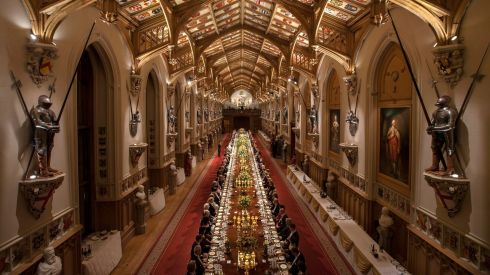 The banquet was held in the opulent surroundings of Windsor Castle. Photograph: Dan Kitwood/Pool/Reuters