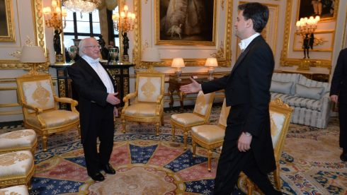 President Higgins meeting Ed Miliband, leader of the opposition Labour Party at Windsor Castle. Photograph: Alan Betson/The Irish Times