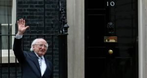 President Higgins waves as he leaves after meeting with  prime minister David Cameron at Number 10. Photograph: Reuters/Luke MacGregor