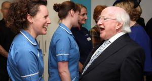 Pauline Conway from Co Wicklow greeting  President Michael D Higgins  at University College London Hospital yesterday.  Photograph: Johnny Bambury