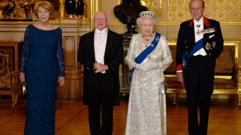 At the State Banquet Sabina wears a Louise Kennedy floor length, long sleeved gown in blue/green Guipure lace embellished with green and blue crystals.  Photograph: Alan Betson/ The Irish Times