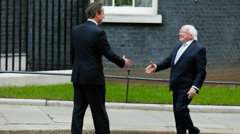 President Michael D Higgins is greeted by British prime minister David Cameron (left) greets  as he arrives at Number 10 Downing Street in London. Photograph: Stefan Wermuth/Reuters