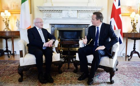 "Mr Cameron (right) engages in conversation with President  Higgins in 10 Downing Street. Reflecting the efforts of the British side to make the visit a success, Mr Cameron extended ""an extremely warm welcome, Mr President"", adding: ""it is really remarkable how Anglo-Irish relations have not only been transformed but I see them on an ever-increasing gradient. Photograph: Andy Rain/PA Wire"