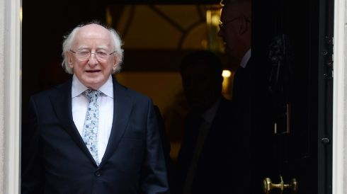 President Higgins departs Downing Street.  Photograph: Andy Rain/EPA