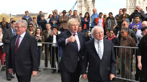 Eamon Gilmore, Tanaiste, Boris Johnson, the Mayor of London greeting President Michael D. Higgins, on his arrival at a Youth Workshop at City Hall as part of the state visit of President Higgins in London. Photograph: Alan Betson / The Irish Times