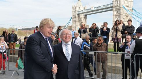 Boris Johnson, the Mayor of London greeting  President Michael D. Higgins. Photograph: Alan Betson/The Irish Times