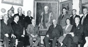 The Arts Council presenting to the millionaire Sir Alfred Chester Beatty a great portrait of himself in 1954. Photograph: Dermot Barry