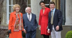 President Michael D Higgins and his wife Sabina meeting Ian and Anna-Lisa Balding at Park House Stables, Kingsclere, Newbury as part of the state visit of President Higgins to Britain. Photograph: Alan Betson / The Irish Times