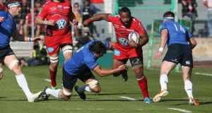 Steffon Armitage of Toulon charges upfield during the Heineken Cup quarter final match against  Leinster at the Felix Mayol Stadium. Armitage's sheer size caused Leinster all sorts of problems at the breakdown. Photograph: David Rogers/Getty Images)