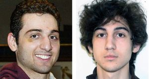 Brothers Tamerlan and Dzhokhar Tsarnaev, suspects in the Boston Marathon bombings of last April 15. Photograph: AP Photos/Lowell Sun and FBI