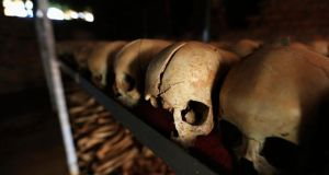 "Preserved skulls in a Catholic church in Nyamata, Rwanda. Former International Criminal Court judge Maureen Harding Clark said ""the international community doesn't do collective blame, even though individual world leaders are queueing up to say they are sorry"". Photograph: Noor Khamis/Reuters"