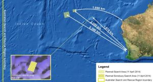 The image shows the planned search area in the Indian Ocean, West of Australia, for the wreckage of flight MH370 today. Photograph: EPA/AMSA
