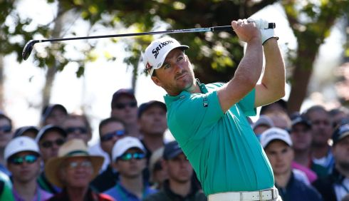 Graeme McDowell of Northern Ireland hits his tee shot on the fourth hole during the first round of the 2014 Masters Tournament in Augusta. Photograph: Erik S Lesser/EPA