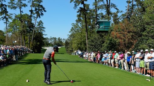 Rory McIlroy of Northern Ireland hits his tee shot on the 18th hole during the first round of the 2014 Masters in Augusta. Photograph: Harry How/Getty Images