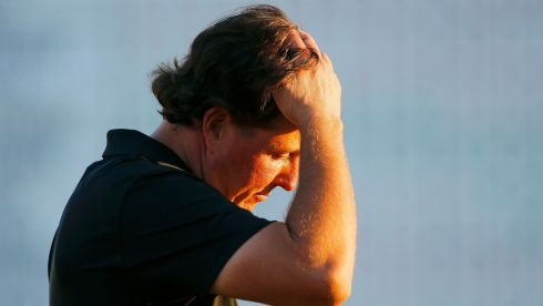 US golfer Phil Mickelson reacts after finishing play in the first round at Augusta. Photograph: Brian Snyder/Reuters