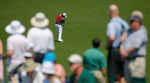 US golfer Jason Dufner hits a a shot on the eighth hole during the first round. Photograph: Brian Snyder/Reuters