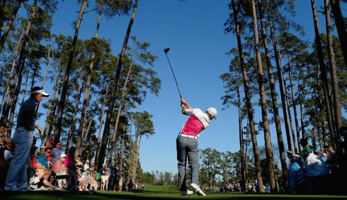 Sergio Garcia of Spain hits his tee shot on the 17th. Photograph: Harry How/Getty Images