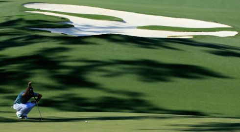 Keegan Bradley of the US on the 10th green. Photograph: David Cannon/Getty Images