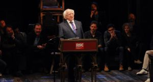 President Michael D Higgins gives a speech on stage in front of the cast of Henry IV Part I at the Royal Shakespeare Company in Statford-upon-Avon. Photograph: PA