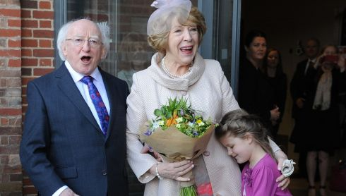 Sabina Higgins embraces Martha Wainwright (6), after the latter presented her with a bouquet during President Michael D Higgins's visit to the Royal Shakespeare Company in Statford-upon-Avon on the last day of the state visit to Britain. Photograph: Joe Giddens/PA Wire