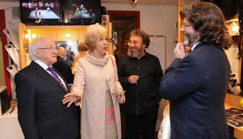 The presidential couple meet actor Sir Anthony Sher (centre) and artistic director Gregory Doran during a visit to the Royal Shakespeare Company in Statford-upon-Avon. Photograph: Joe Giddens/PA Wire