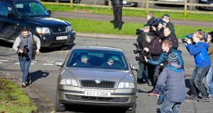 Members of the media try to get a picture of Seamus Daly arriving at Dungannon Magistrates Court today. Photograph: Cathal McNaughton/Reuters
