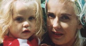 Life in the limelight: the photograph that Peaches Geldof tweeted of her toddler self with her mother, Paula Yates, shortly before she died. Photograph: Twitter