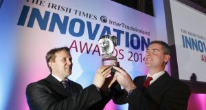 Wayne Byrne and Eoin Casey of OxyMem, overall winners in The Irish Times InterTradeIreland Innovation Awards. Photograph: Conor McCabe Photography