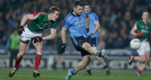 Dublin's Kevin McManamon scores his side's first goal against Mayo last weekend. Photograph: Donall Farmer/Inpho