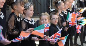 Members of the Mary McHugh School of Dancing in Coventry wait in anticipation of meeting President Higgins during the final part of his state visit to Britain. Photograph: Alan Betson/The Irish Times