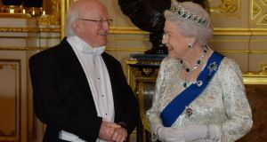 President Michael D Higgins and  Queen Elizabeth  before the banquet held at Windsor Castle. Photograph: Alan Betson