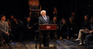 Michael D Higgins gives a speech on stage in front of the cast of Henry IV, Part 1 at the Royal Shakespeare Company in Statford-upon-Avon, during the first State visit to the UK by an Irish President. Photograph: Joe Giddens/PA Wire